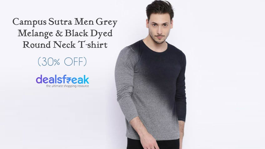 Campus-Sutra-Men-Grey-Melange-Printed-Round-Neck-T-Shirt