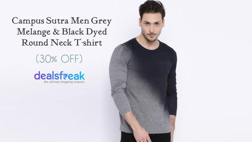 Campus-Sutra-Men-Grey-Melange-Printed-Round-Neck-T-Shirt