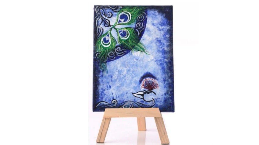 Funky Hue Stretched Framed Painting with Easel Stand