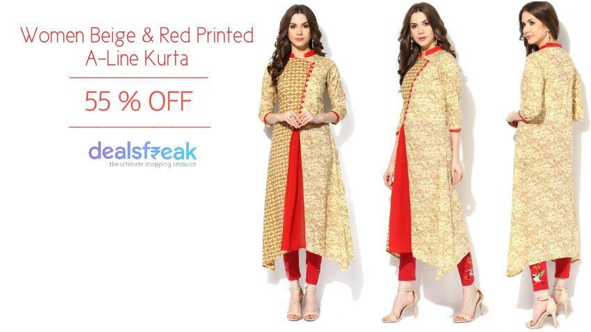 Women Beige & Red Printed A-Line Kurta