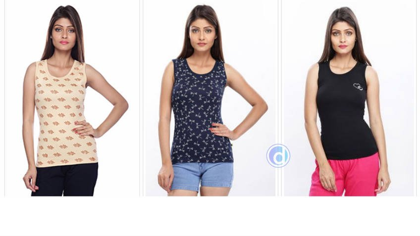 Buy 3 Women Tank tops at Rs 279