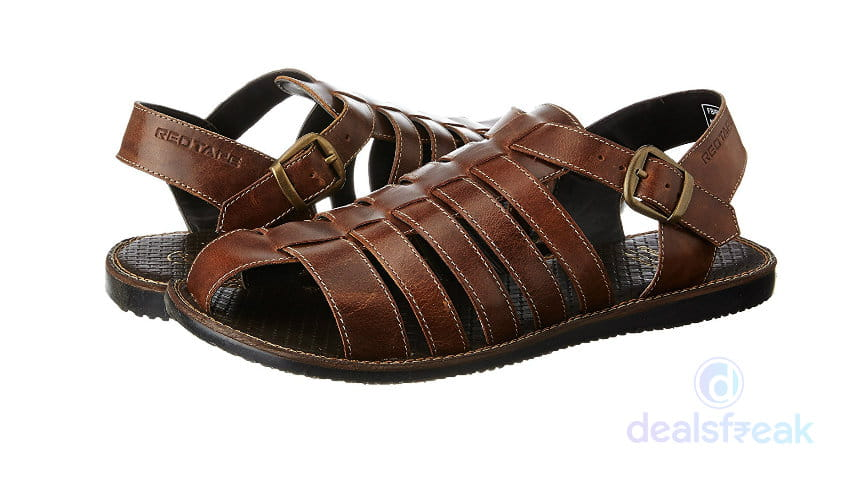 Leather Lowest Floaters Price Sandals Tape At Men's And Red odxWBeQrC