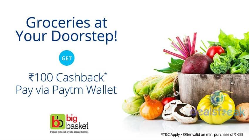 Rs 100 cashback Paytm-Big-Basket-Offer