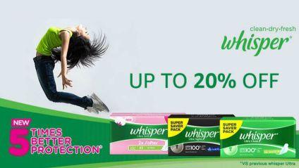 whisper offer amazon upto 20% OFF