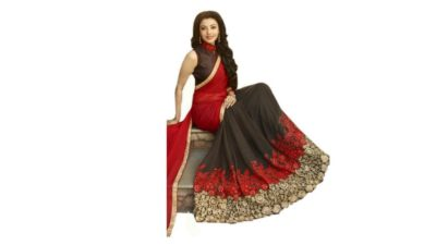 Red - Coffee Brown Georgette Saree
