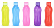 Cello Aqua Flip Top 1000 ml Bottle (Pack of 5, Multicolor)