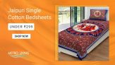 Jaipuri Cotton Printed Single Bedsheets at Lowest Price in India